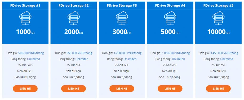 Bảng giá dịch vụ Fdrive